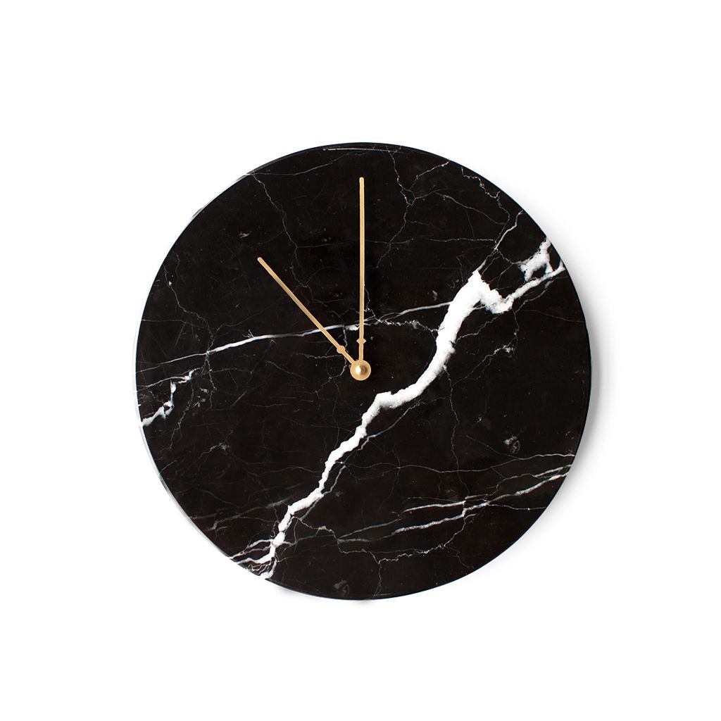 Marble Wall Clock Nero Marquina By Obiekt Wall Clock Clock Copper Home Accessories