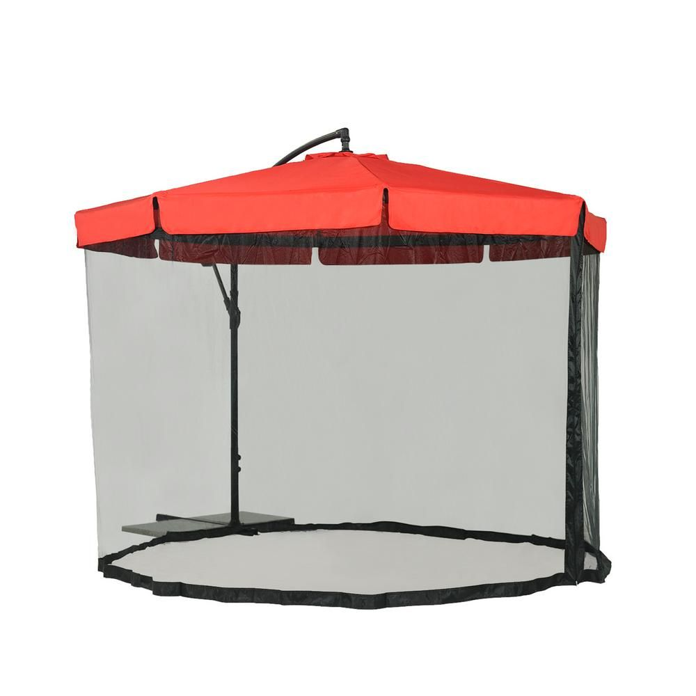 Charmant Sunjoy Offset Netted 9.8 Ft. Steel Cantilever Patio Umbrella In Red