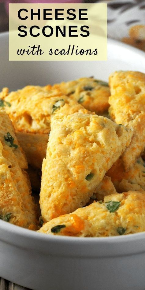Cheese Scones with Scallions Cheesy and buttery with a good savory flavor, these Cheese Scones with Scallions are a nice treat for your breakfast or as a side dish to your meal.