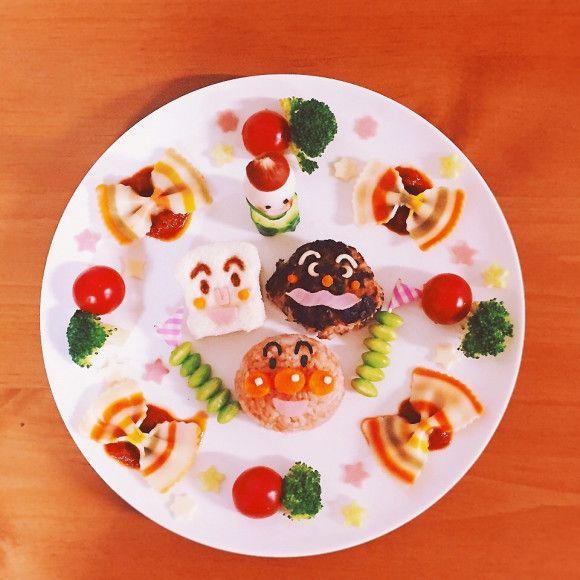 2歳のお誕生日プレート アンパンマン まるこさんのお料理 ペコリ 誕生日プレート 食べ物のアイデア 誕生日 料理