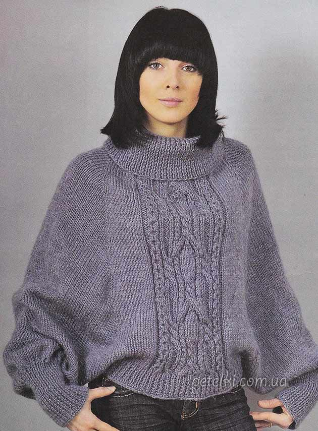 пончо с рукавами спицами описание схема вязания Crochet Knit