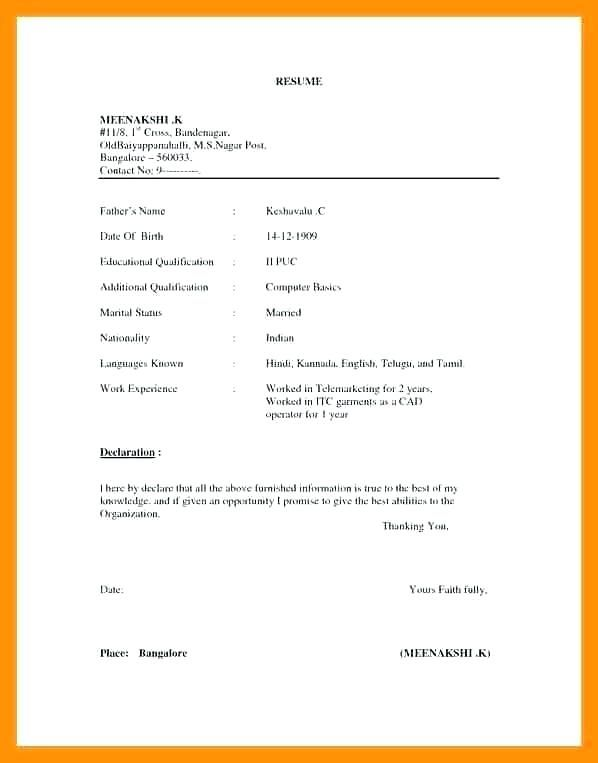 image result for indian resume format in word document