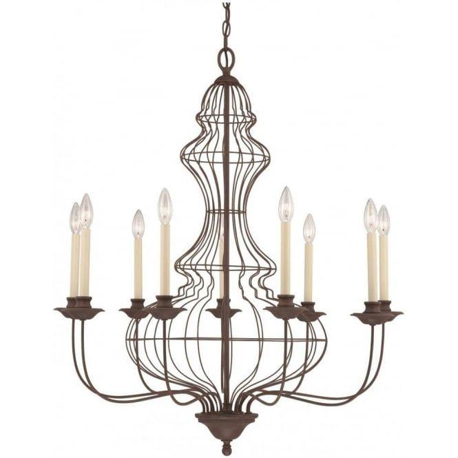 Laila Large Antique Rustic Bronze Chandelier 9 Candle Style