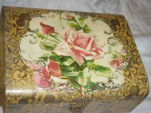 Antique Victorian Celluloid Pink Roses Rose C Klein