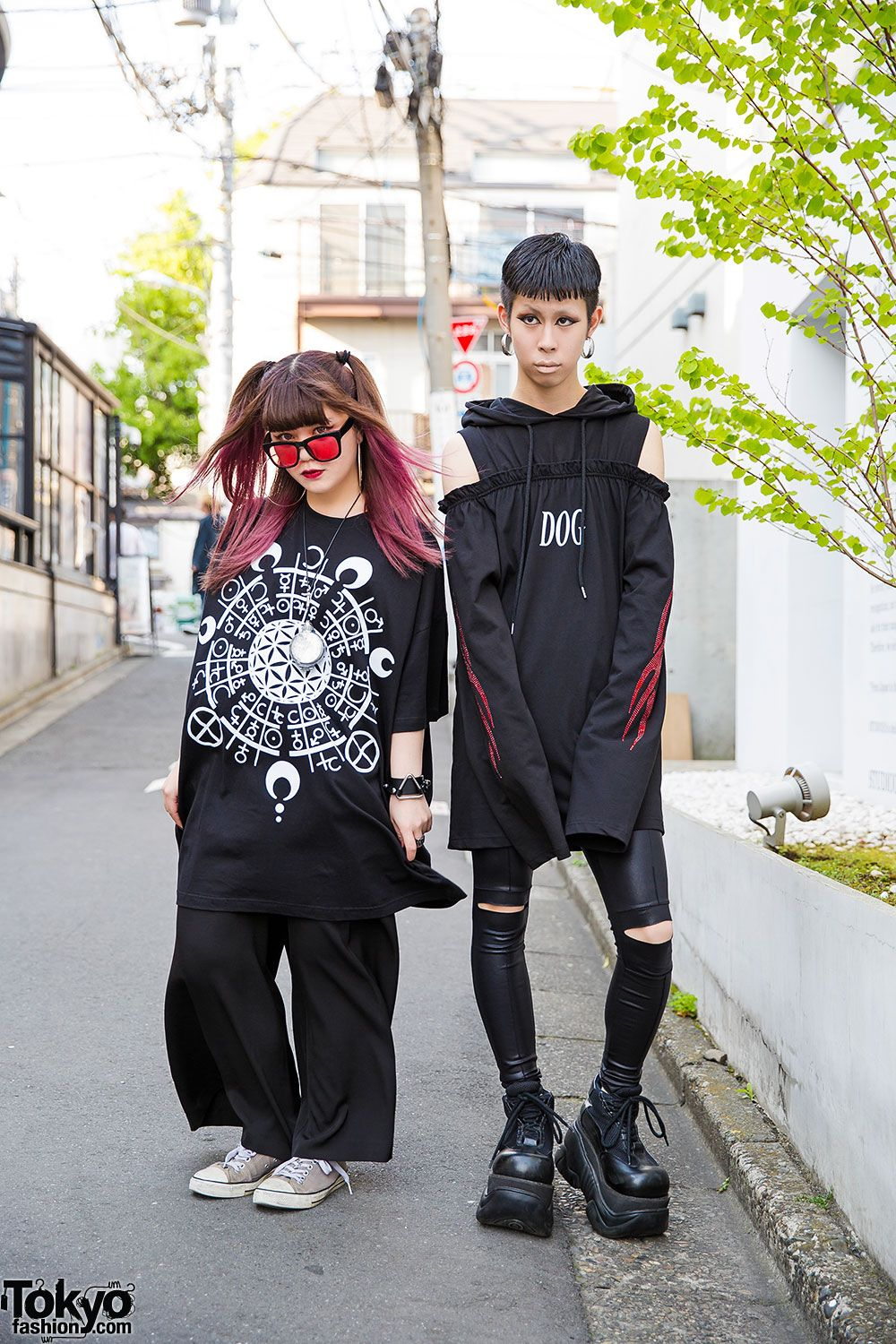 Kasumi and Cham on the street in Harajuku wearing dark looks from the Tokyo boutique Never Mind the XU with items from Drinkscancode, Demonia, and Converse. Full Looks