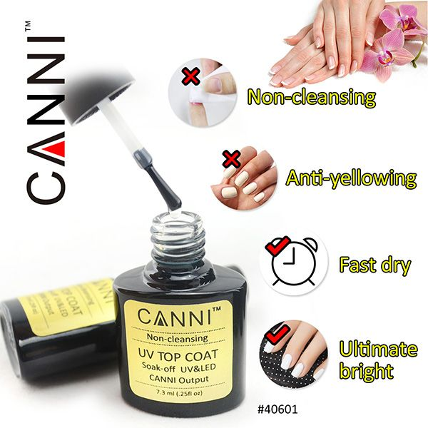40601 CANNI Nail Bueaty UV Gel Polish Non Cleansing Top Coat Without ...