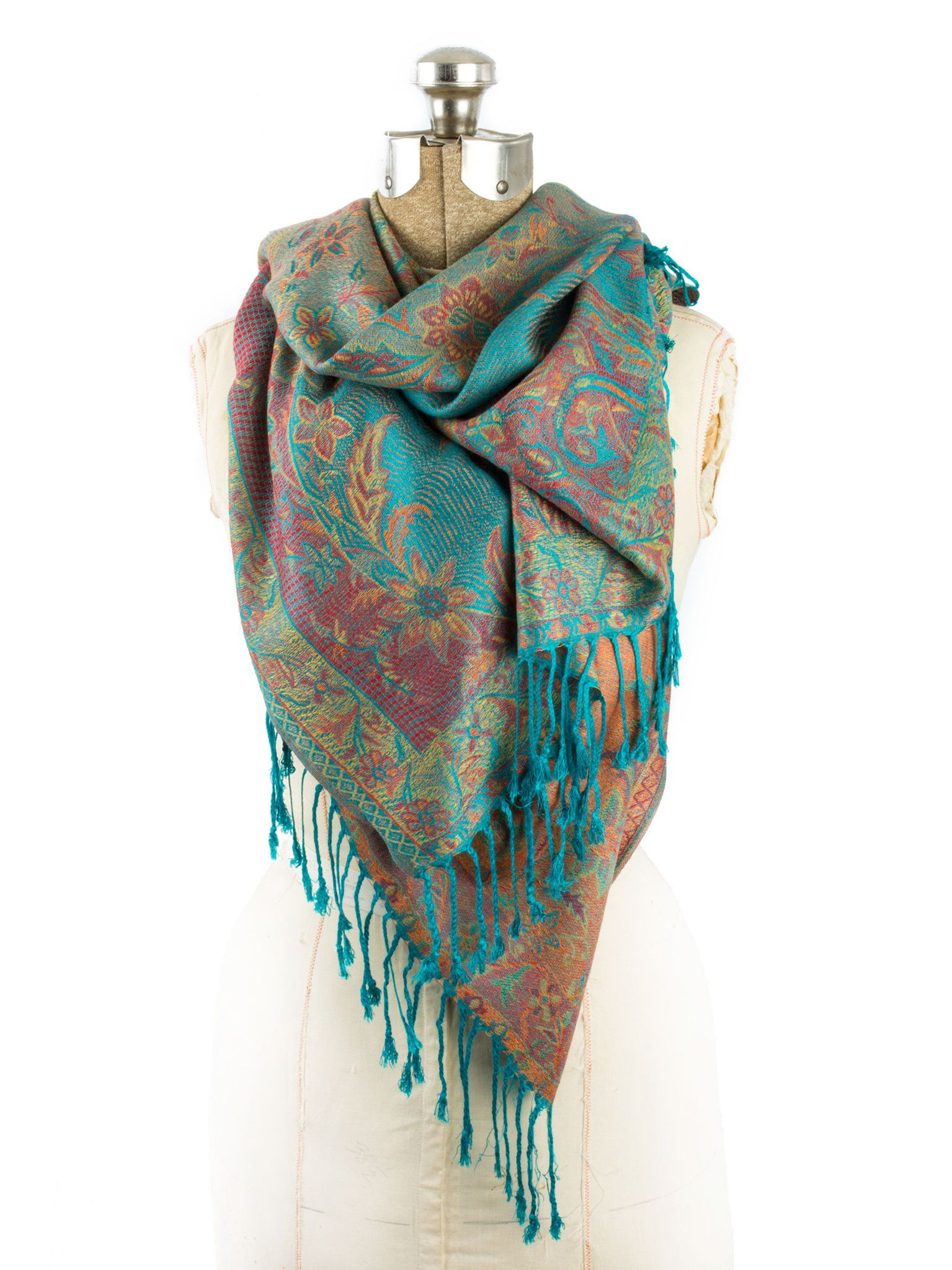 2114d9f79 Scarves - Amrita Scarf, Pashmina Indian Paisley Traditional Jacquard Shawl  -() Bohomonde - 2