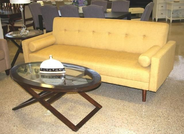 Mustard Yellow Sofa Bed With 2 Pillows