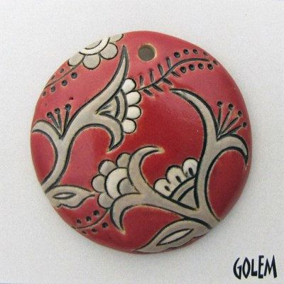 Tuscany Red Cotton Blossoms Round Focal Bead by JasmineTeaDesigns