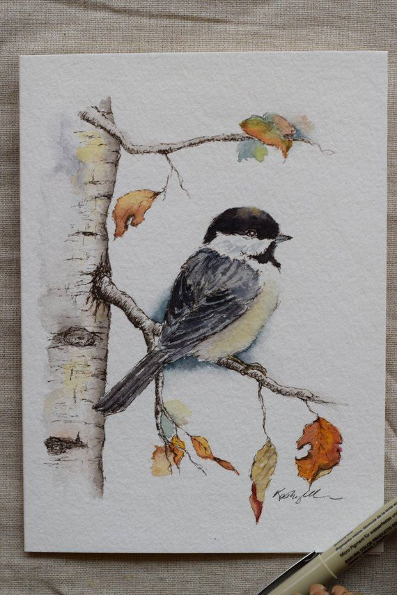 Little Chickadee Fall Leaves Holiday Christmas Card watercolor cardPrints  Watercolor Arts