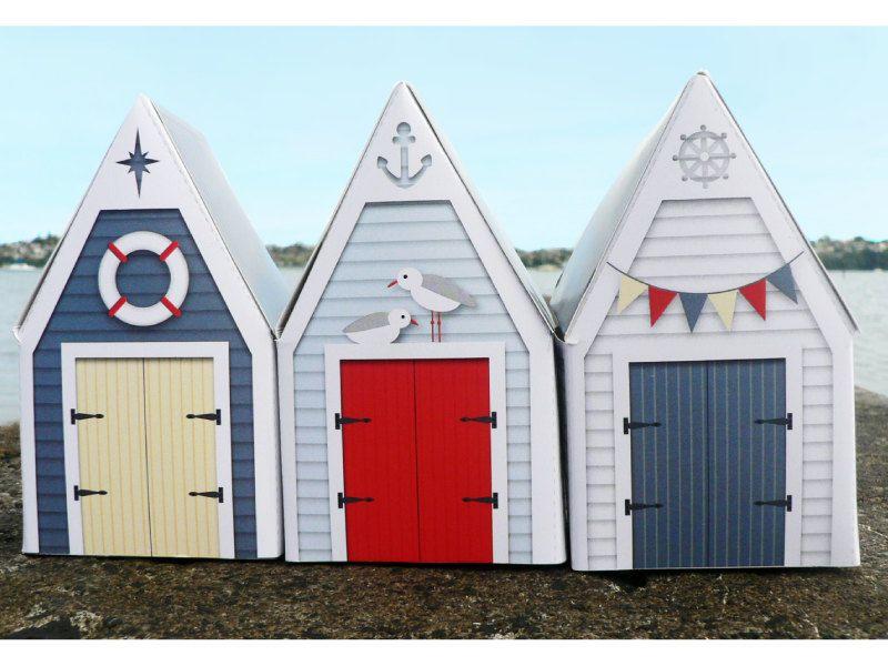3 PRINTABLE BEACH HUT Gift Boxes