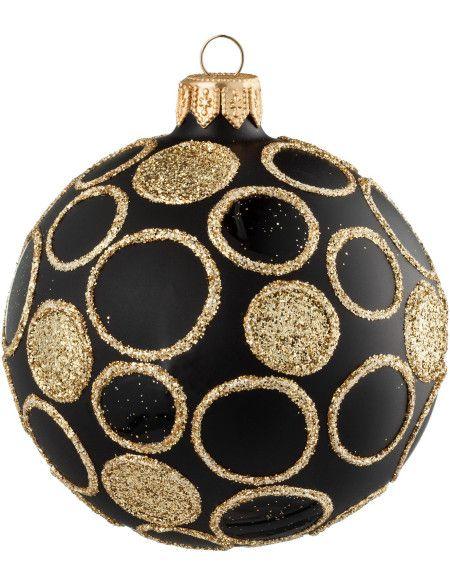 David Jones  David Jones Black glass ornament with gold glitter