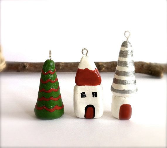 Polymer Clay Christmas Village.Miniature Christmas Village Clay Houses By