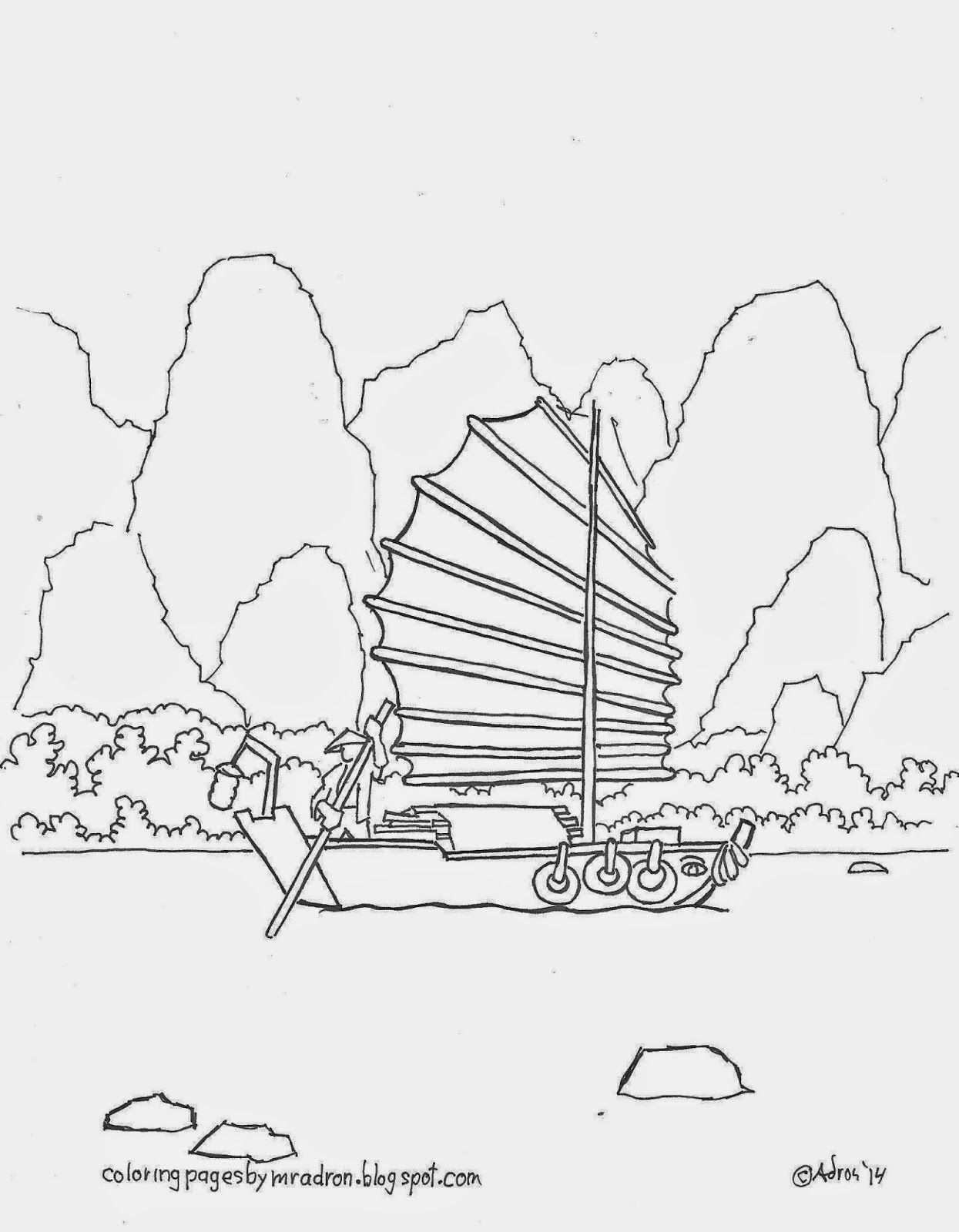 A coloring page of a Chinese sampan boat. see more coloring pages at ...