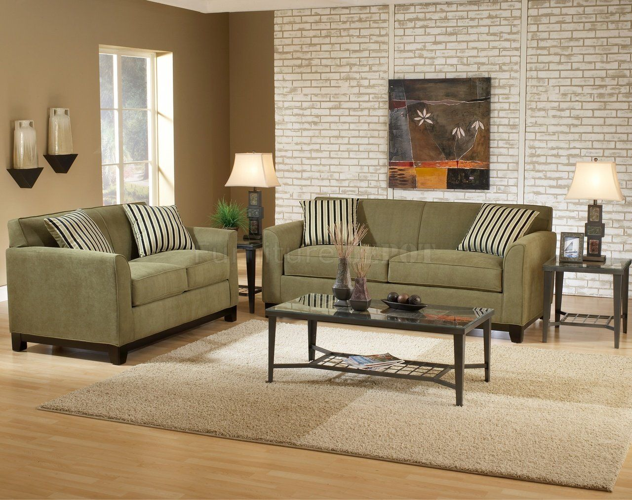 Wall color for sage green couch sage fabric casual for Leather and fabric living room sets