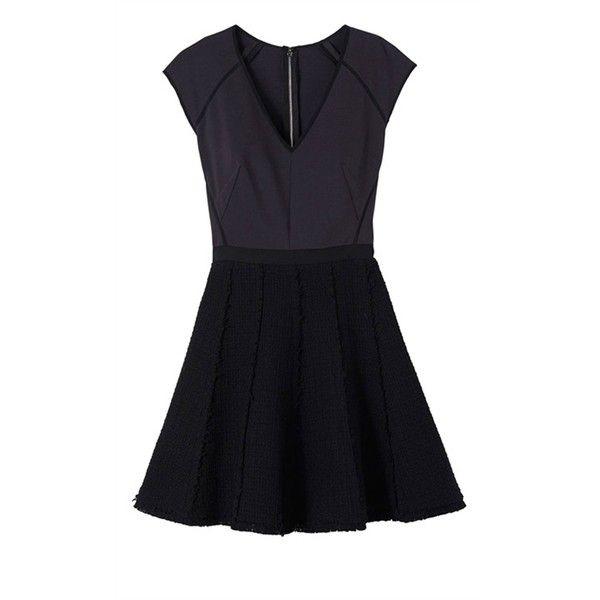 Rebecca Taylor Tweed and Ponte Dress ($120) ❤ liked on Polyvore featuring dresses, vestidos, robes, short dresses, ponte skater skirt, ponte dress, flared skirt and mini dress