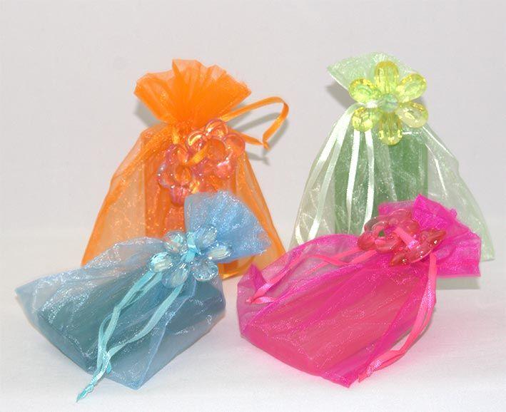 rosas de jabon en bolsa de organza
