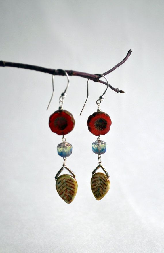Dangle Czech Glass Earrings  Colorful Glass Earrings  by lyralyra