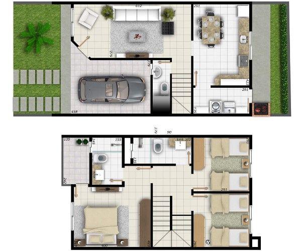 Planta de casas 2 pisos house plantas pinterest - Modelos de casas de planta baja ...