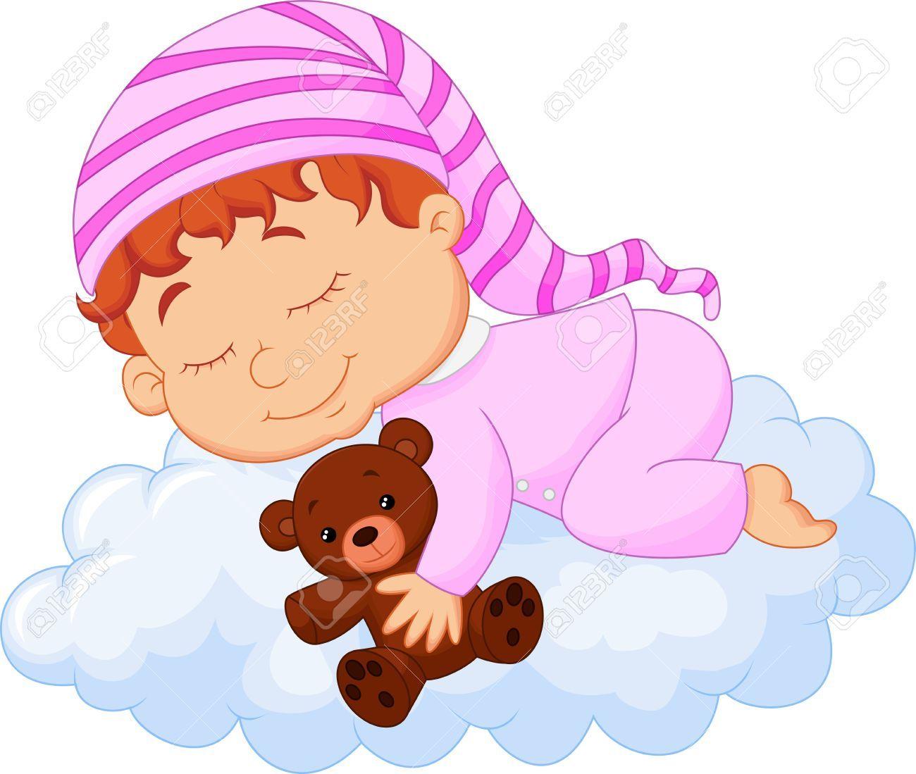 Dormir Dibujos Animados Bebe En La Nube Caricatura De Bebe Dibujos Animados Dibujos