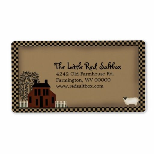 Whimsical Primitive Red Saltbox Shipping Label