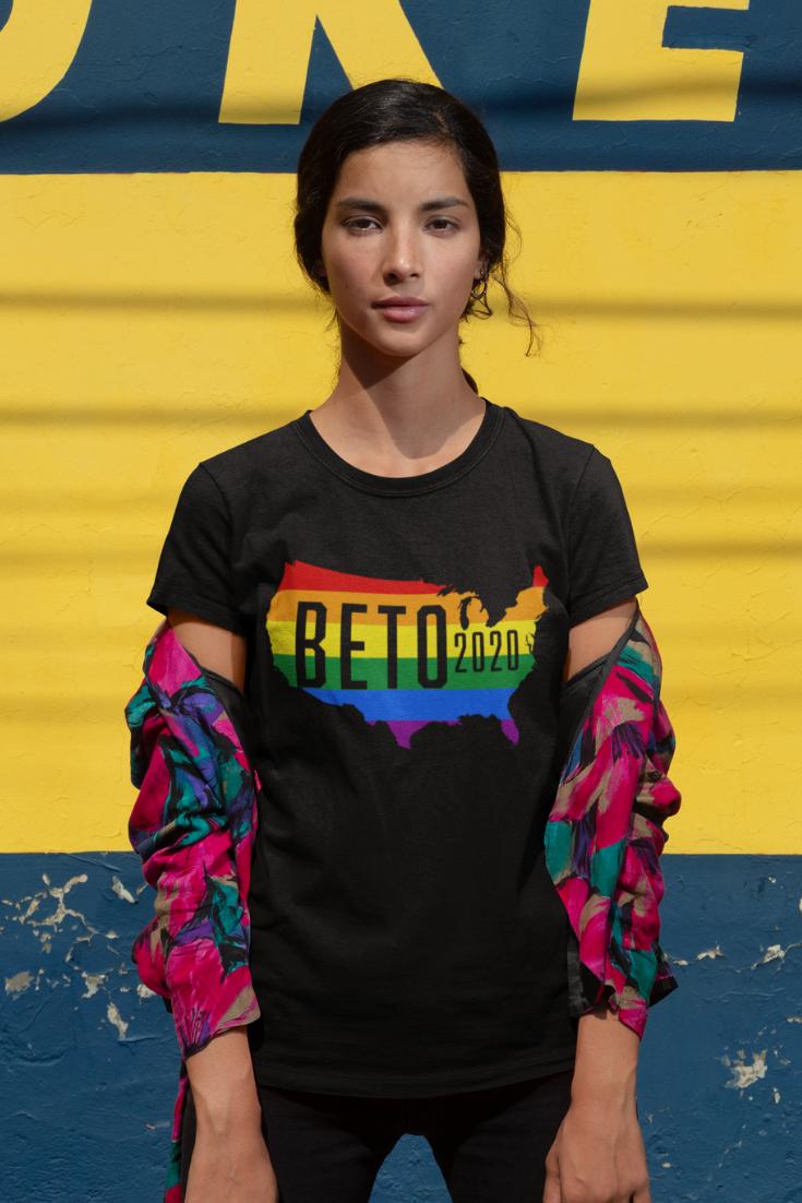 Beto O'Rourke 2020 LGBT T-Shirt| LGBTQ Shirt| Beto For President| Gay Pride TShirt| O Rourke 2020| Rainbow Graphic Tee| American Politics| Resist| Vote Democratic Primary Election|