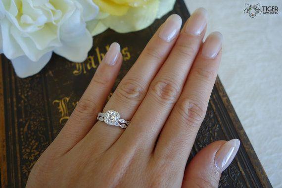 34 ctw halo wedding set delicate bridal rings by tigergemstones - 3 Carat Wedding Ring