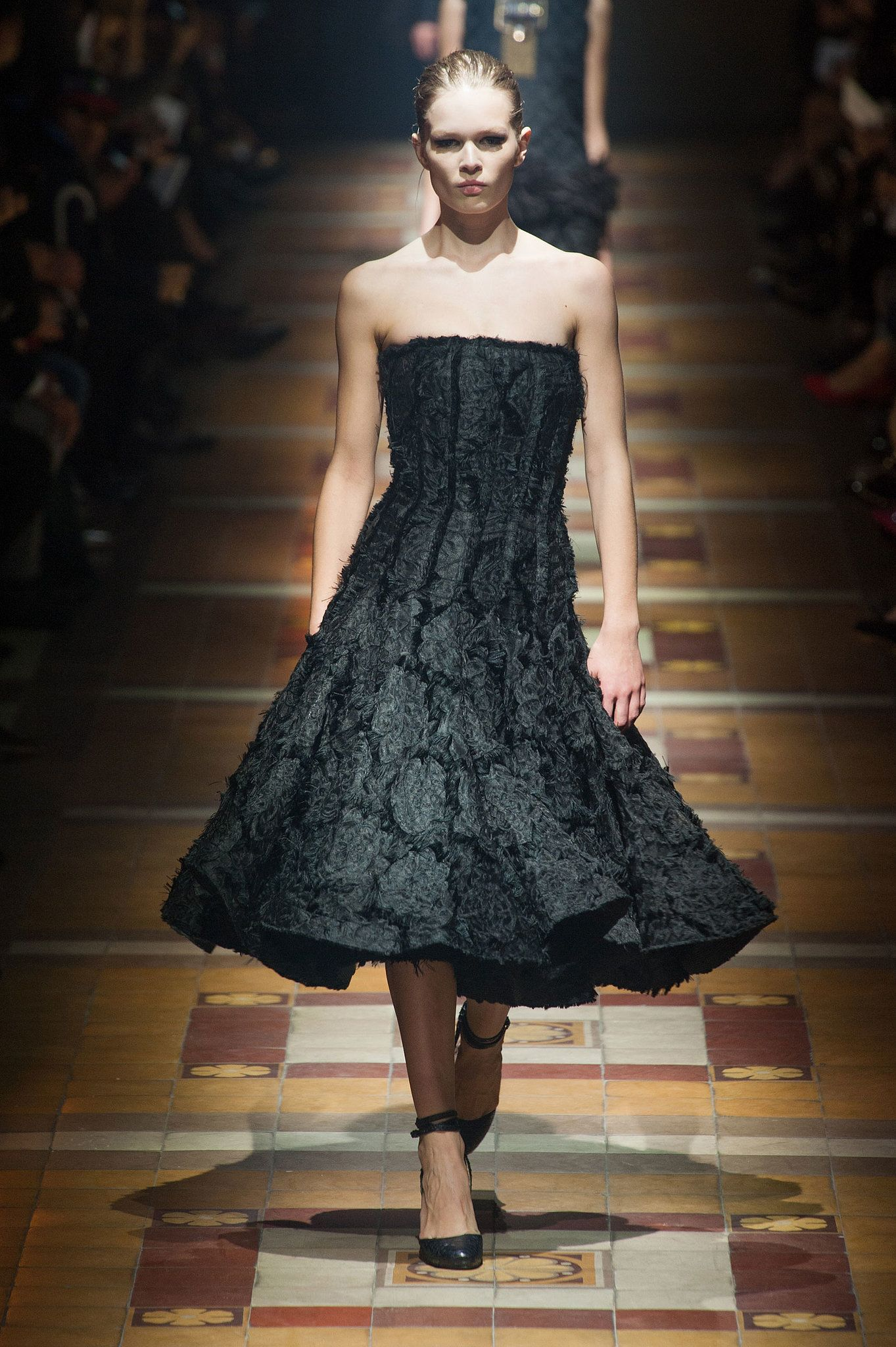 Love this dreamy black dress from Lanvin Fall 2014. #PFW