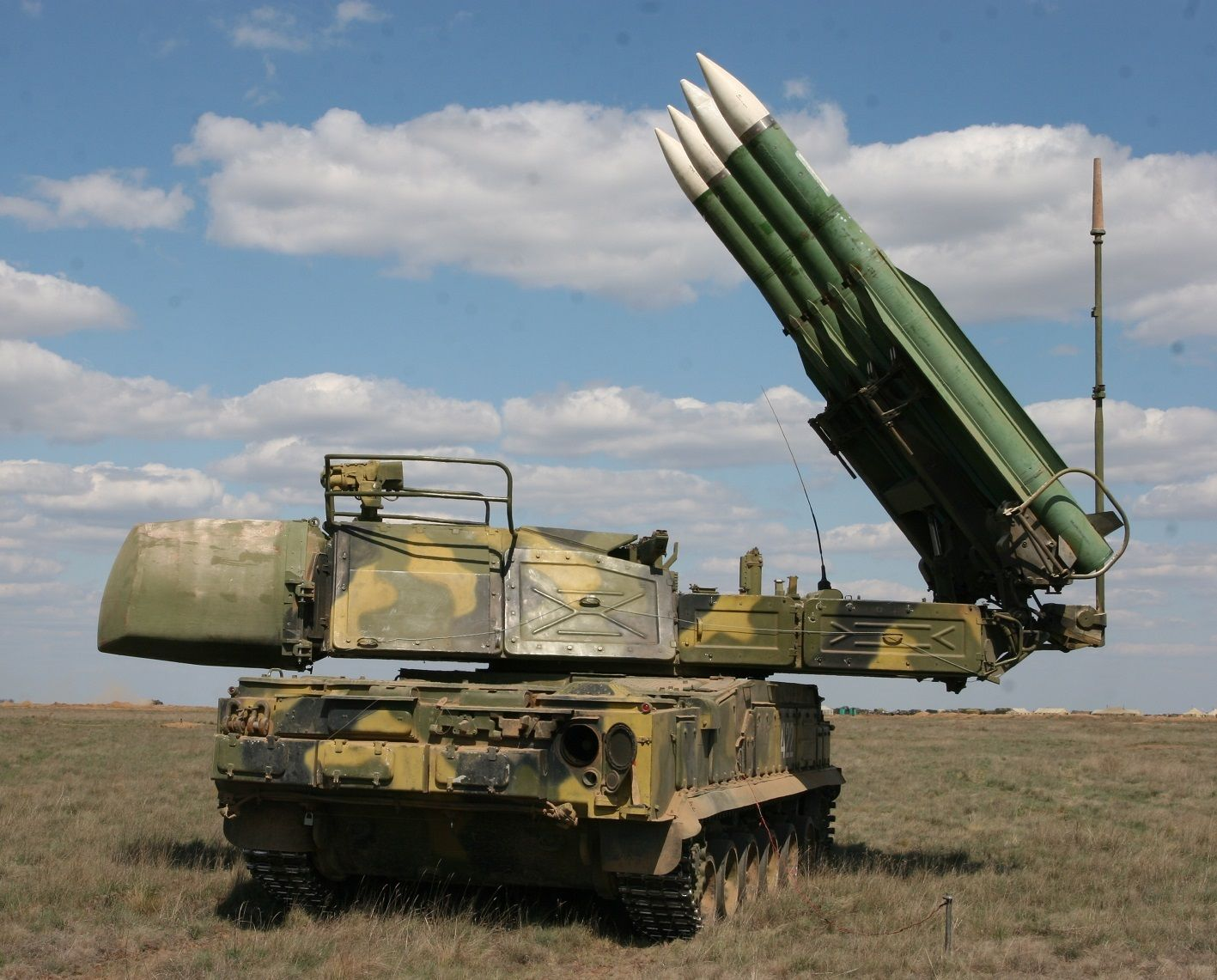 combat units of the Buk-M2 - anti-aircraft missile system. - The Buk missile system is a family of self-propelled, medium-range surface-to-air missile systems developed by the Soviet Union and its successor state, the Russian Federation, and designed to fight cruise missiles, smart bombs, fixed- and rotary-wing aircraft, and unmanned aerial vehicles.