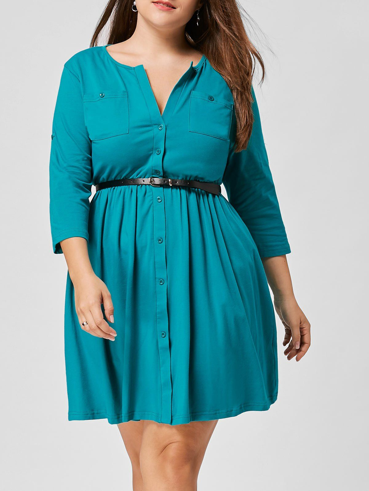 Plus Size Belted Button Up Pocket Dress in Lake Blue 4xl ...