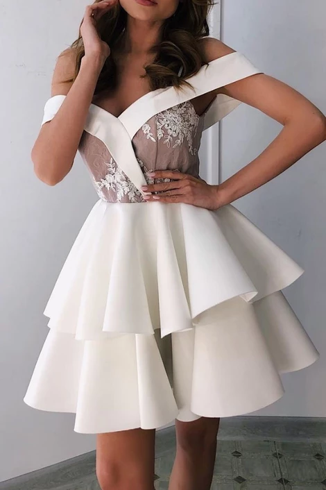 White sweetheart off shoulder short prom dress, white homecoming,JJ867 - Sweetheart homecoming dress, Blue evening dresses, Tea length prom dress, Evening dresses, Prom dresses short, Short prom dress - inch Your event date           Shipping time rush order within 15 days to arrive you (but we need charge you extra $30 for rush  usually need 23 weeks  Tailoring Time 12 weeks Shipping Time 37 days  Total Time 23 weeks if you are urgent to get the dress please note me in advance    ShippingWayby UPS or DHL or some special airline   Custom taxes Except Unite States, most buyers need to pay customs taxes, in order to save cost for you, we have marked around $3040 00 on the invoice, then you just pay less taxes, please note that it's express help customs collect this payment, it is not shipping cost, as shipping cost has already paid before sending   Ouradvantage Our goal is to provide complete one stop shopping for all brides, bridesmaids and all special occasion events  We strive to provide you with the most current selection, the most complete size range (Us size 2 to 24W, custom size), the best prices and the largest variety of styles  Please just assure it and we will make a perfect dress for your big event!