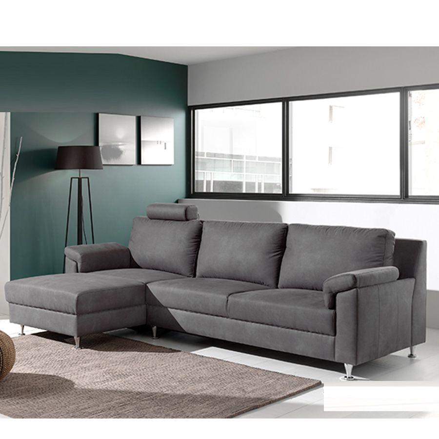 Canapé d'angle gris en tissu OTTAWA
