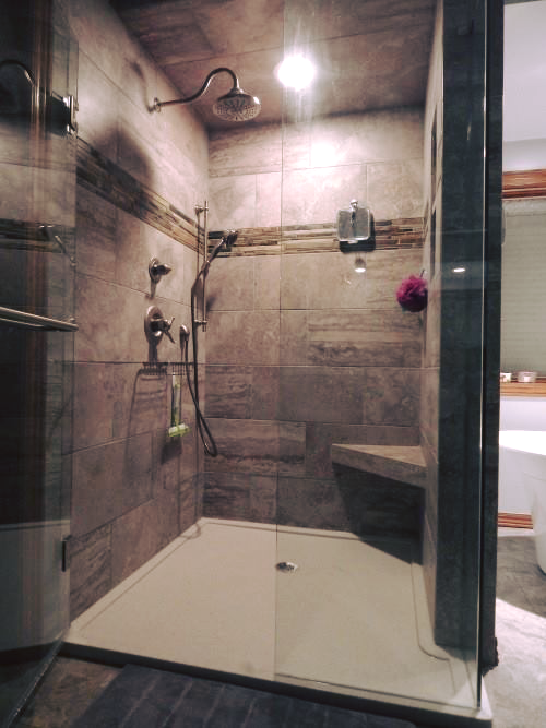 Check Out This Beautiful Tile Shower Onyx Bathroom Remodel Completed - Bathroom remodeling wichita ks
