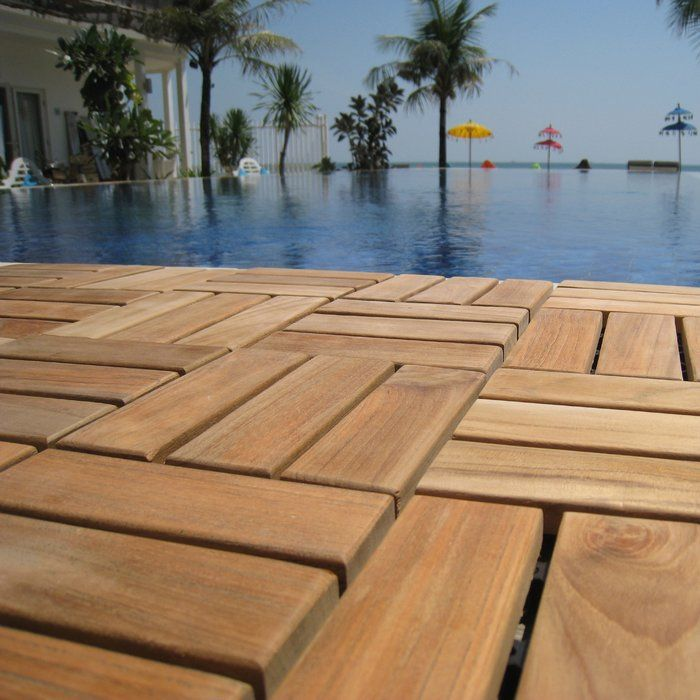 Ez Floor 12 X 12 Wood Interlocking Deck Tile In Natural Outdoor Deck Tiles Wood Deck Tiles Interlocking Deck Tiles