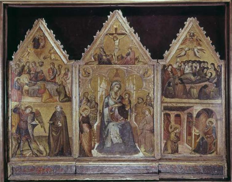 Mazzaforte Giovanni di Corraduccio - sec. XV - Madonna con Bambino in trono e santi; Crocifissione di Cristo; Transito della Madonna, san Michele Arcangelo e sant'Antonio Abate; Annunciazione, morte e assunzione di santa Chiara — insieme