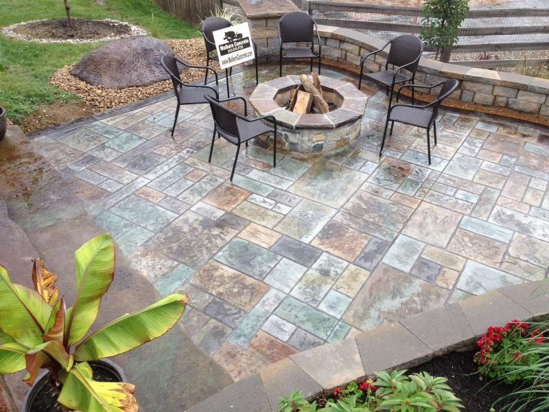 Stamped Concrete Patio And Fire Pit Cincinnati Ohio
