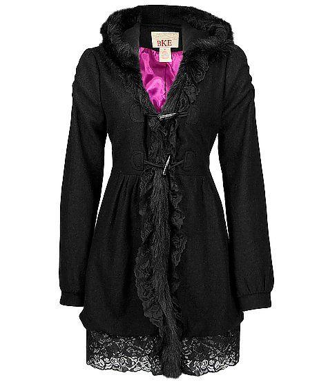 BKE Lace & Faux Fur Trim Coat