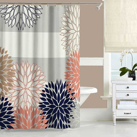 Navy Blue Coral Pink Gray Gold And Off White Shower Curtain With Floral Design And Horiz Coral Shower Curtains Pink Shower Curtains Navy Blue Shower Curtain