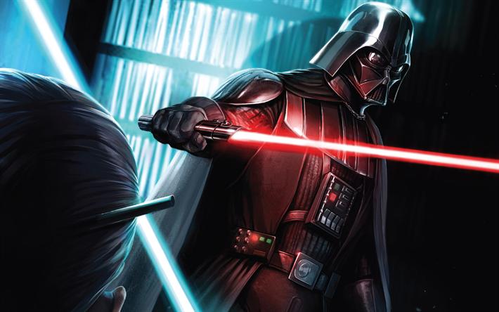 Download Wallpapers Darth Vader 4k Star Wars Lightsaber