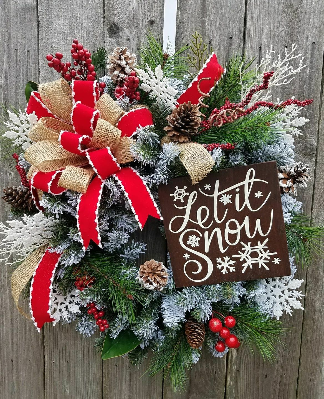Christmas Door Wreaths Cottage Winter Signs Front 2017 Doors Decor