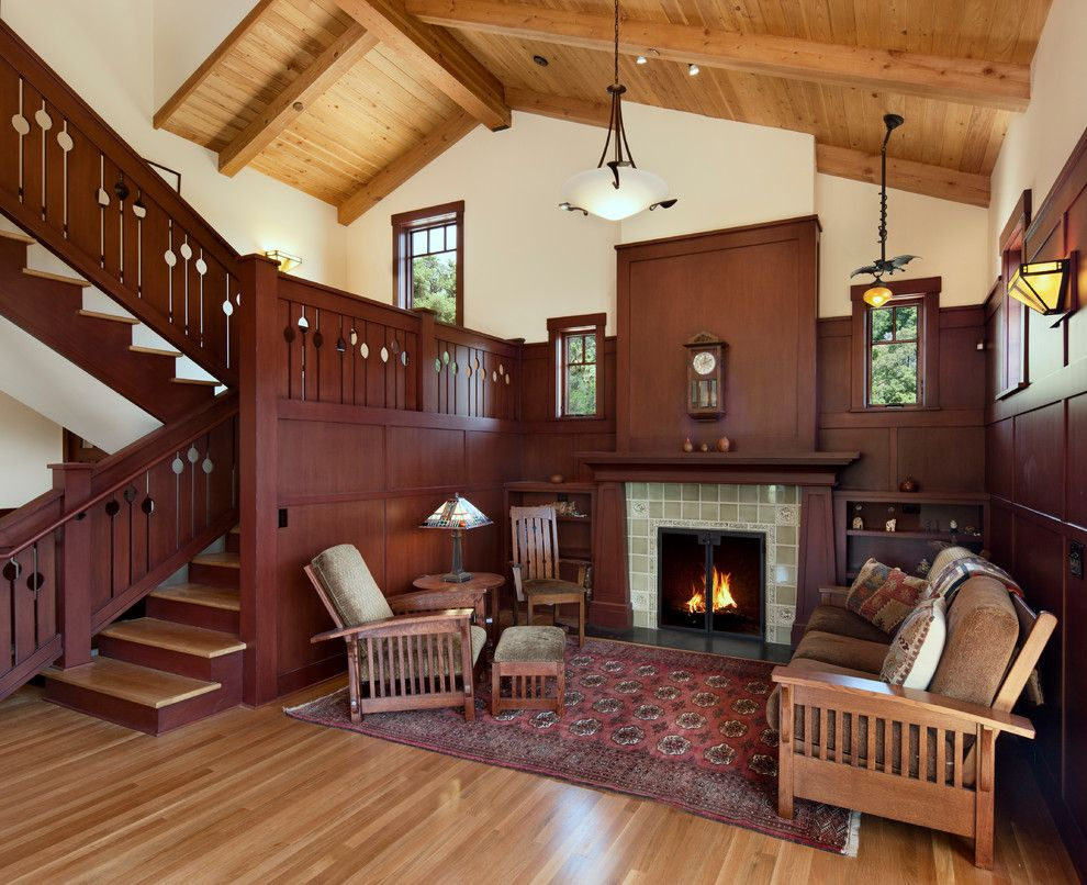 Vintage house interior design with fireplace and wall for Craftsman house interior