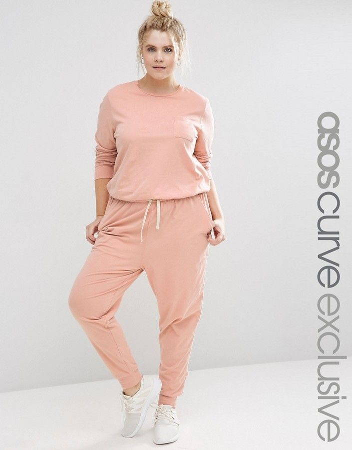 Asos Curve Asos Curve Washed Casual Jumpsuit With Drawstring