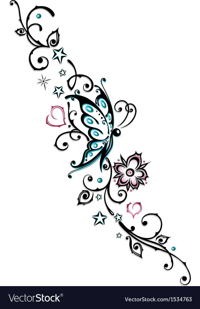 Tribal flower butterfly tattoo style vector image on VectorStock