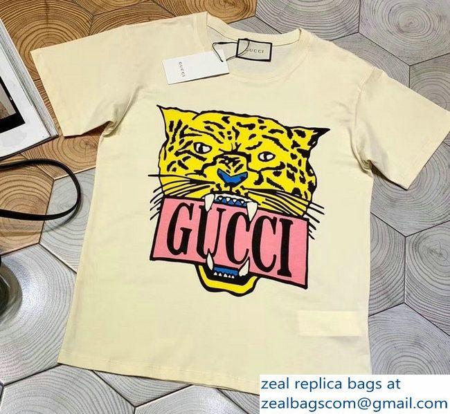 84d5c69ff3f Gucci Logo And Tiger T-shirt Beige 2019