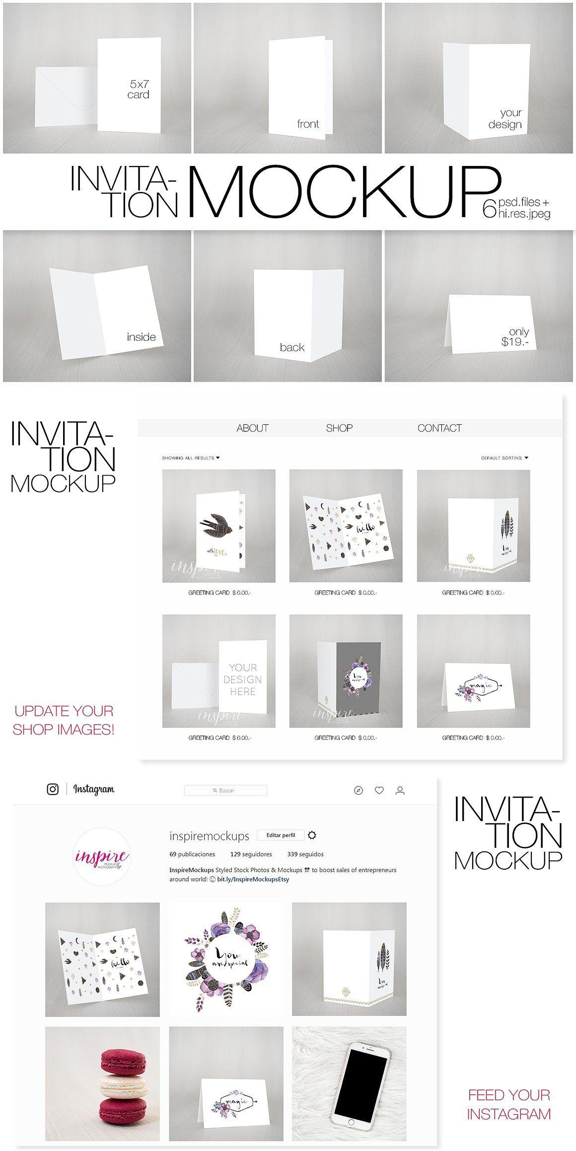 5x7 Card Invitation Nordic Mockup Objectsmartinsert