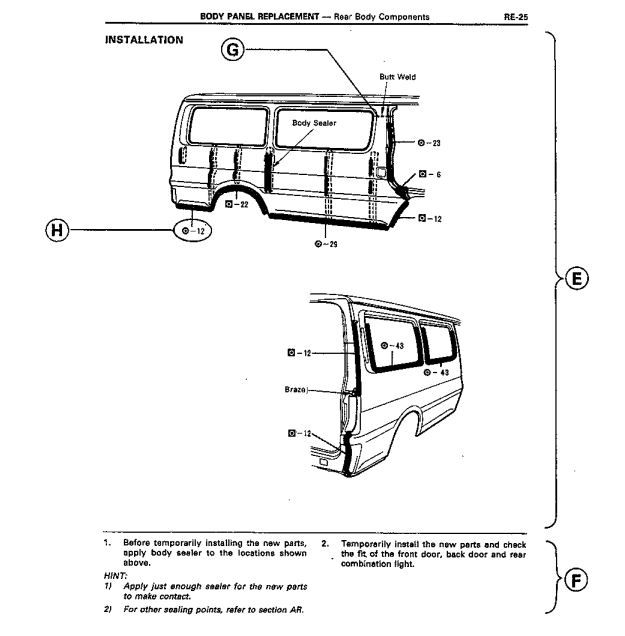 new post (toyota hiace body repair manual for collision damage - body panel  replacement)