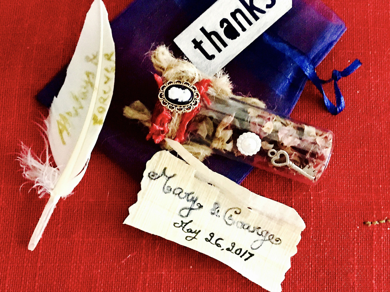 Handmade cork bottles wedding favors - Victorian theme ...