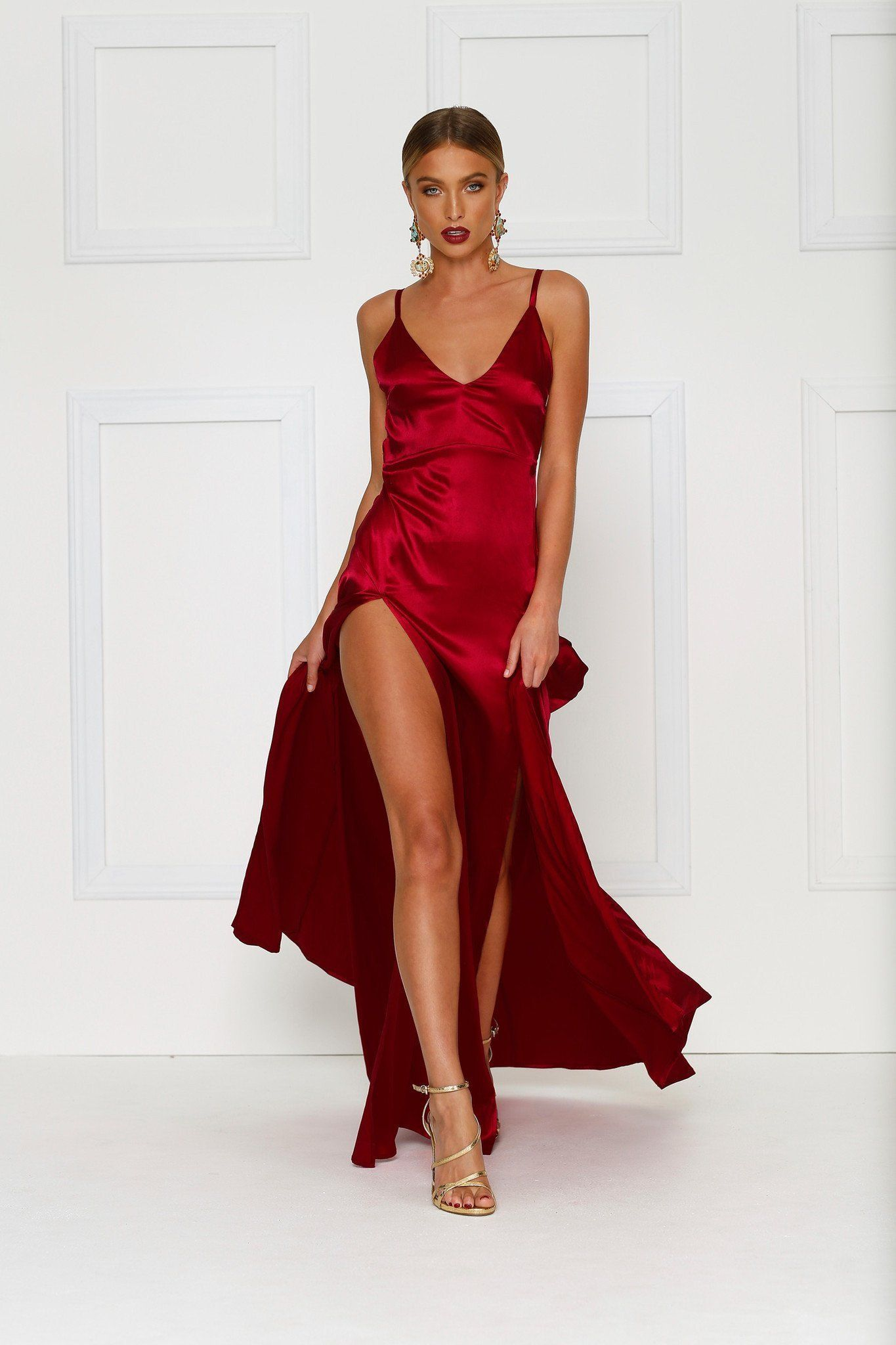 Alexis Wine Red Satin Gown With Thigh High Slits And V Neck Red Dress Dresses Formal Dresses