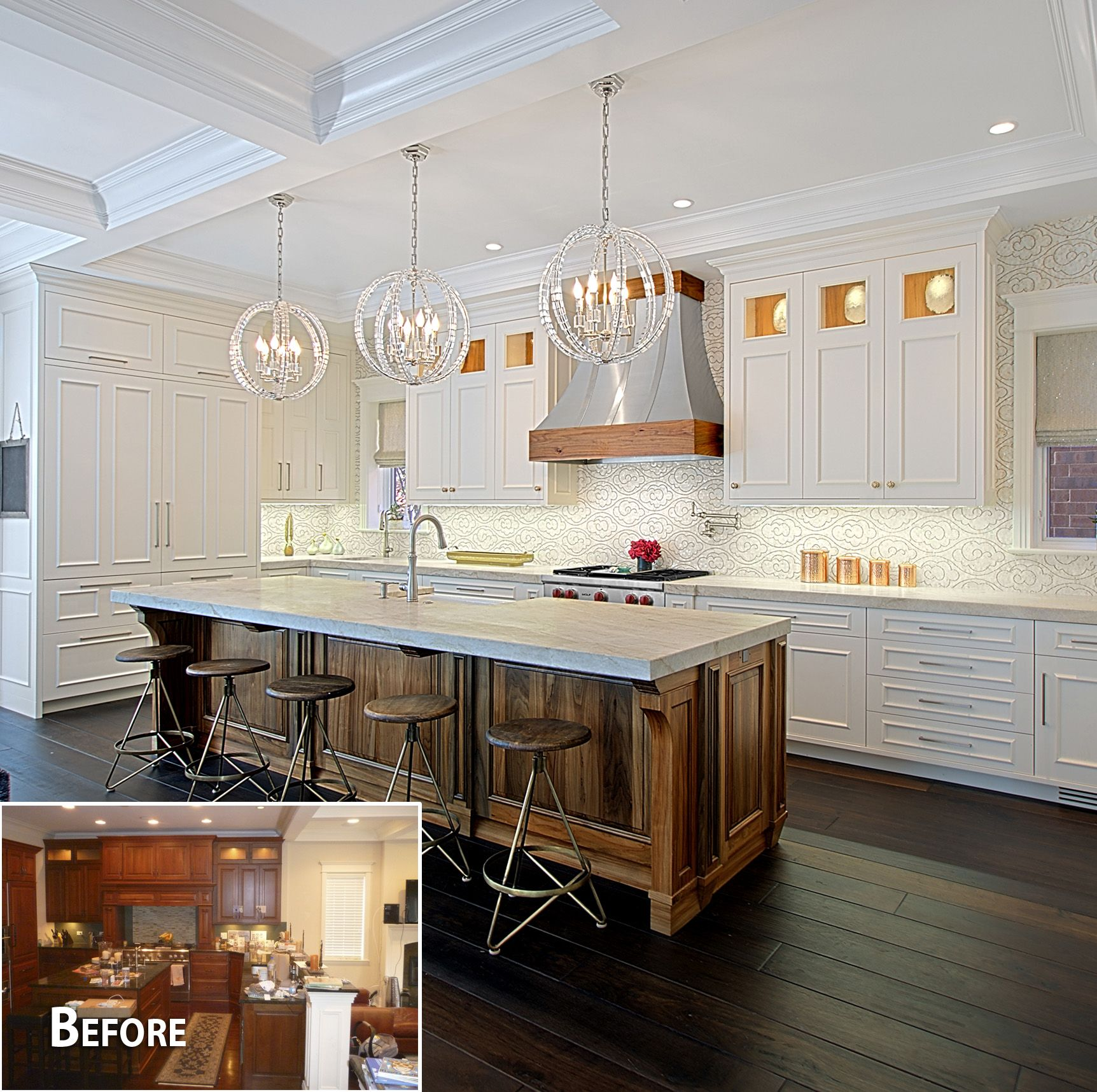 Modern Chicago Lakeview Kitchen Remodel With Mixed Woods Custom Made Cabinetry Designed And Built I Custom Kitchen Remodel Kitchen Design Transitional Kitchen