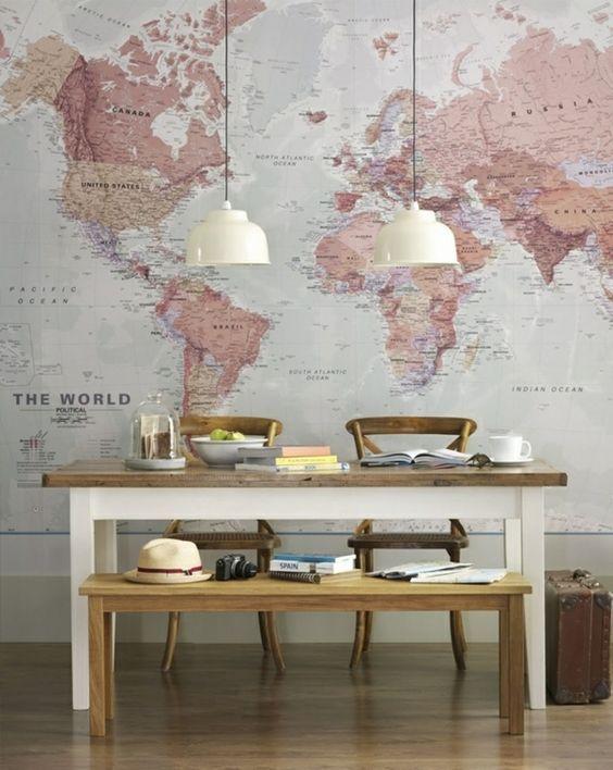 Weltkarten, Maps und Stadtpläne als Dekoration für die Wohnung ...